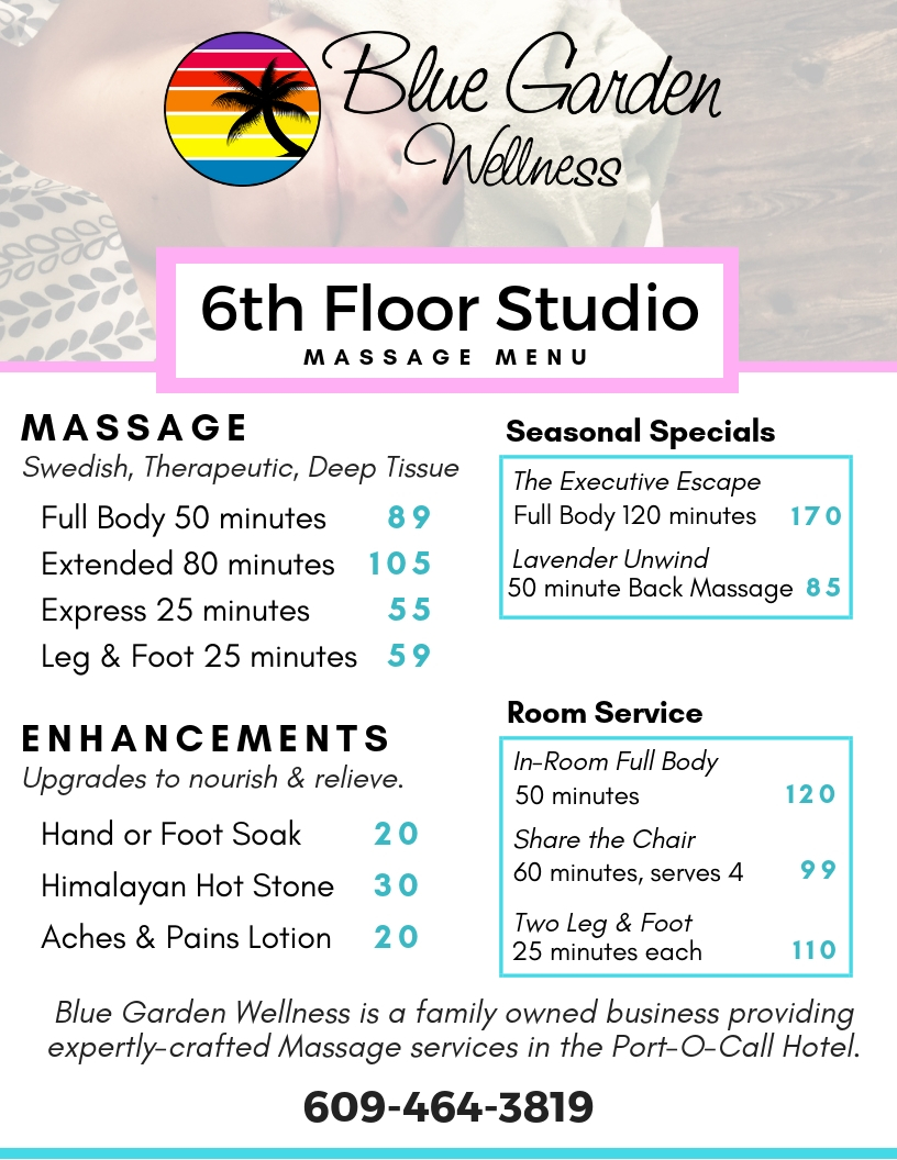 Blue Garden Wellness Massage Menu